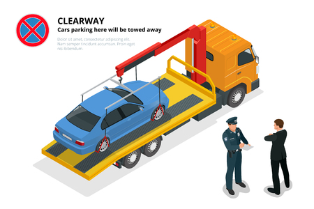 violation: Isometric police fines car design flat isolated. 3D car on Tow truck, police officer traffic, policeman person fines, transportation driver fines, fines transport, sheriff fines guy security violation