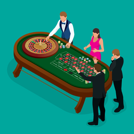 american roulette: Roulette wheel and croupier in casino. Group of young people behind roulette table in a casino. Casino concept. Flat 3d vector isometric illustration Illustration