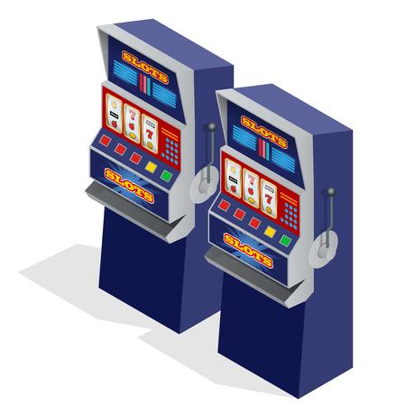 maquinas tragamonedas: Las m�quinas tragaperras del casino. ilustraci�n vectorial isom�trica plana 3d