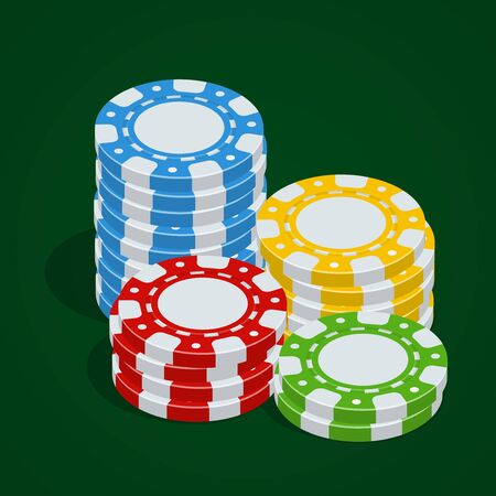 tokens: Casino tokens. Vector Poker chips. 3d flat isometric vector illustration