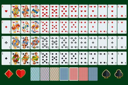 cartas poker: cartas de póquer juego completo. Diseño plano. Poker conjunto con las cartas aisladas sobre fondo verde.