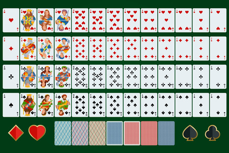 king and queen of hearts: Poker cards full set. Flat design. Poker set with isolated cards on green background. Illustration
