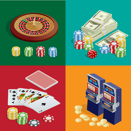 american roulette: Casino concept. Casino background with cards, chips, craps and roulette. Flat 3d vector isometric illustration. Illustration