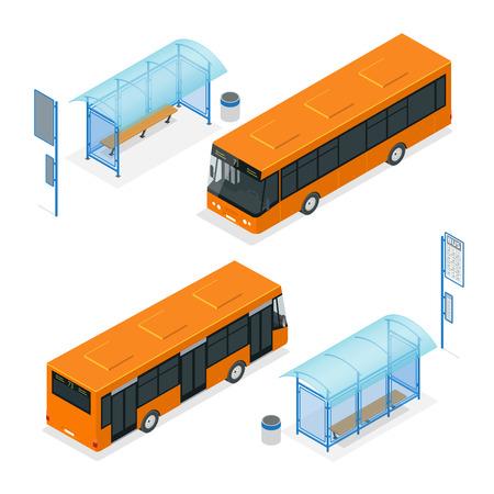 Izometryczny ikony - przystanek autobusowy i autobus. Mieszkanie 3d ilustracji wektorowych z przystanku autobusowego i dworca autobusowego. Izometryczny ikony - przystanek autobusowy. Transport publiczny z autobusowego i przystanku autobusowego