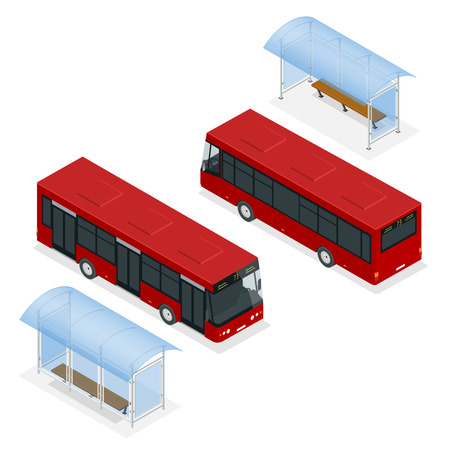 Isometric icon - bus stop and bus. Flat 3d vector illustration of a bus and bus stop. Isometric icon - bus stop.  Public transportation with bus and bus stop