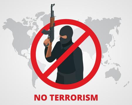 No al terrorismo. Smettere di terrore segno distintivo contro il terrorismo campagna sulla mappa del mondo. Piatto illustrazione 3D
