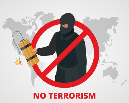 terror: No terrorism. Stop terror sign anti terrorism campaign badge on world map. Flat 3d illustration