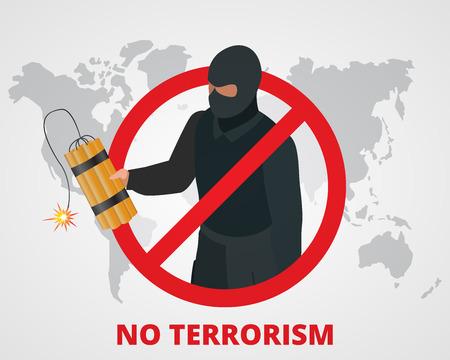 Pas de terrorisme. Arrêtez la terreur signe anti- badge campagne de terrorisme sur la carte du monde. Flat 3d illustration