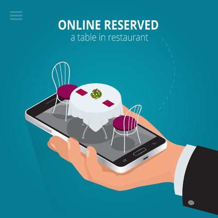 Online gereserveerde tafel in het restaurant. Concept Gereserveerde in cafe. Flat 3d isometrische vector illustration