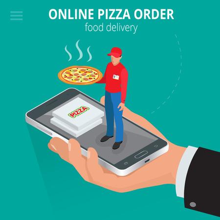 3d pizza: Online pizza. Ecommerce concept - order food online website. Fast food pizza delivery online  service. Flat 3d isometric vector illustration