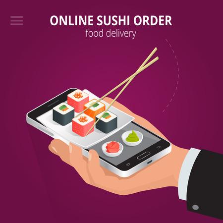 Online sushi. Ecommerce concept order food online website. Fast food sushi delivery online service. Flat 3d isometric vector illustration Ilustração Vetorial