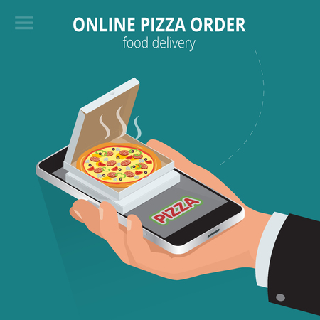 Online pizza. Ecommerce concept - order food online website. Fast food pizza delivery online service. Flat 3d isometric vector illustration