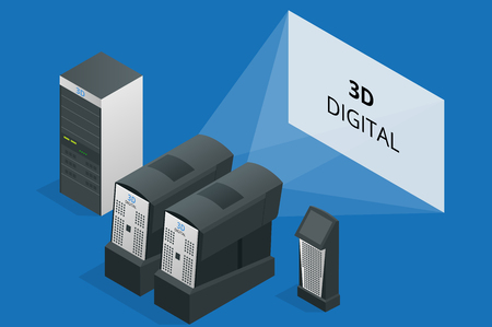 cinematographic: Modern projector in cinema. Cinematographic equipment. 3d digital. Flat 3d isometric vector illustration. 3d digital projector Illustration