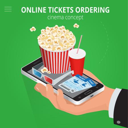 Online cinema tickets ordering. Concept order food and cinema tickets. Cinema tickets delivery online service. Flat 3d isometric vector illustration