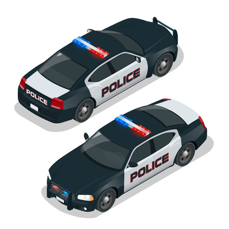 car crime: Police car. Flat 3d isometric high quality city service transport icon set. Isometric police car with front and rear views