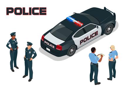 警察車 - 警官 - 女性警察官。3次元等尺性の高品質シティ サービス トランスポートをフラットします。等尺性の警察車  イラスト・ベクター素材