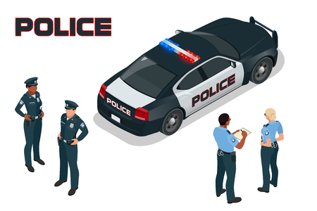 Police car - policeman - policewoman. Flat 3d isometric high quality city service transport. Isometric police car Çizim