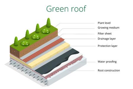 Grundelemente eines grünen Dach. Wohnung 3D-Vektor-isometrische Darstellung eco Dach