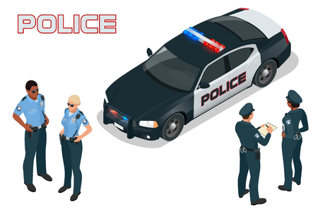 policewoman: Police car - policeman - policewoman. Flat 3d isometric high quality city service transport. Isometric police car Illustration