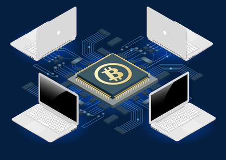 Bitcoin mining equipment. Digital Bitcoin. Golden coin with Bitcoin symbol in electronic environment. Flat 3d isometry isometric online mining bitcoin concept Vector Illustration