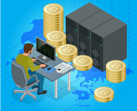 e cash: Flat 3d isometric man on computer online mining bitcoin concept. Bitcoin mining equipment. Digital Bitcoin. Golden coin with Bitcoin symbol in electronic environment