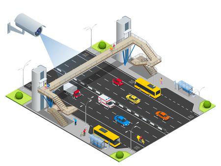 macchina fotografica: telecamere di sicurezza rileva il movimento del traffico. telecamera di sicurezza a circuito chiuso su isometrico illustrazione di marmellata di traffico con l'ora di punta. Traffico 3d isometrico illustrazione vettoriale. Traffico di monitoraggio CCTV