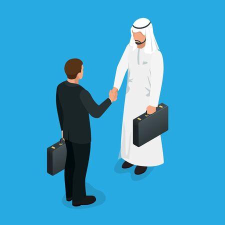 socios árabes del apretón de manos concepto. Reparto de asunto apretón de manos con sirve étnicos árabes y europeos. Piso 3d ilustración isométrica del vector Ilustración de vector