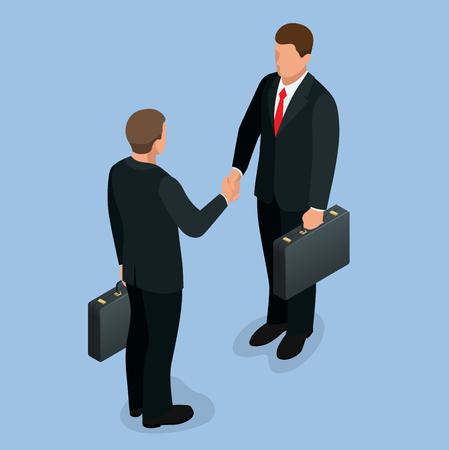 Businnes handshake concept. Handshake in flat style. Business deal handshake isometric vector  illustration. Mens shaking hands