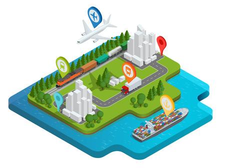 rete logistica globale piatto 3d isometrico illustrazione vettoriale aereo di carichi carichi Trasporto su rotaia il trasporto marittimo di consegna on-time