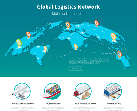 consolidation: Global logistics network Web site concept Flat 3d isometric vector illustration Air cargo trucking rail transportation maritime shipping On-time delivery