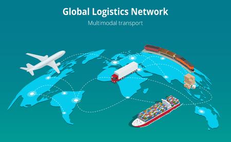Global concept de site Web de réseau logistique plat transport ferroviaire 3d isométrique illustration vectorielle Air fret camionnage transport maritime sur les délais de livraison Vecteurs