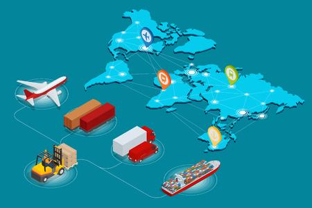 Globale rete logistica sito Web concetto piatto 3d isometrico illustrazione vettoriale aereo di carichi carichi Trasporto su rotaia il trasporto marittimo on-tempi di consegna