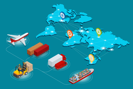 Global logistics network Web site concept Flat 3d isometric vector illustration Air cargo trucking rail transportation maritime shipping On-time delivery