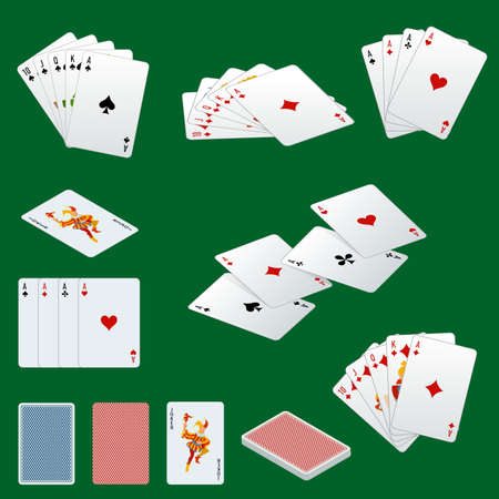 straight flush: A royal straight flush playing cards poker hand in hearts. Poker cards set. Playing cards set