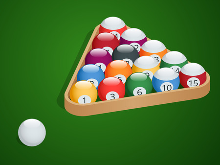starting: Set of billiard balls. Complete Billiard Balls. Pool billiard balls in a wooden rack. Commonly used starting position. Isometric isolated vector illustration on green gradient background Illustration