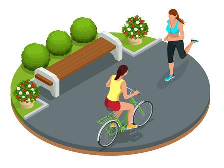 公園、自転車道でサイクリングを実行している女性でバイクに乗る人。夏の日の彼らのバイクで週末の遠足。平らな 3 d ベクトル等尺性のイラストで