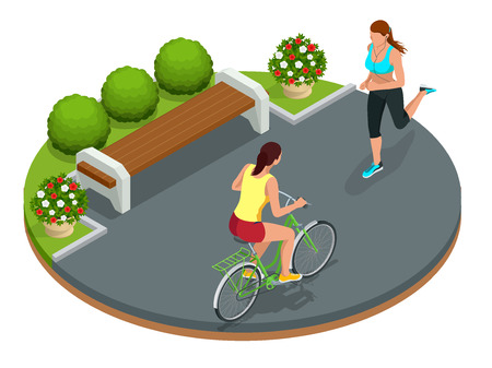 Biker in park, woman running Cycling on bike path. Weekend excursion on their bikes on summer day. Flat 3d vector isometric illustration. People riding bikes. Bikers and bicycling. Sport and exercise Stock Illustratie