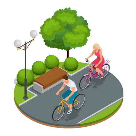 bicycling: Bikers in park. Cycling on bike path. Weekend excursion on their bikes on a summer day.  Flat 3d vector isometric illustration.People riding bikes. Bikers and bicycling. Sport and exercise Illustration