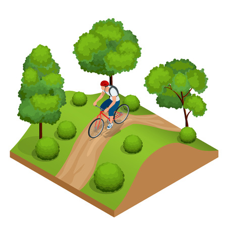 excursion: Biker in forest cycling on track from behind. Weekend excursion on their bikes on a summer day.  Flat 3d vector isometric illustration. People riding bikes. Bikers and bicycling. Sport and exercise Illustration