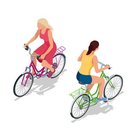 자전거에 자전거. 사람들은 자전거를 타고. 자전거 및 자전거. 스포츠 및 운동. 플랫 3D 벡터 아이소 메트릭 그림