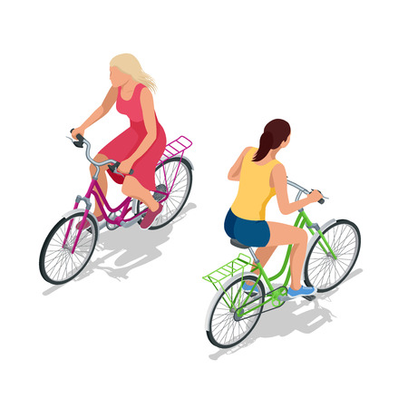Cyclists on bikes. People riding bikes. Bikers and bicycling. Sport and exercise.  Flat 3d vector isometric illustration Vectores