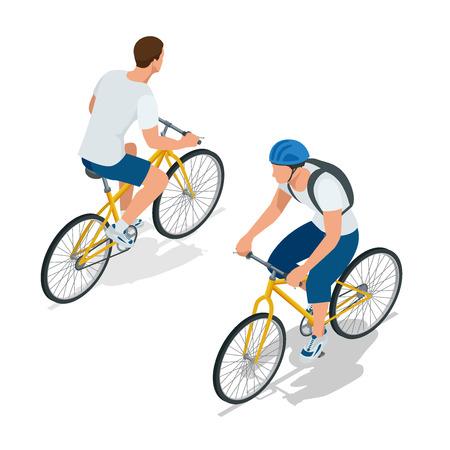 estilo de vida: Ciclistas em bicicletas. As pessoas andam de bicicleta. Motociclistas e andar de bicicleta. Desporto e exercício físico. Plano do vetor 3d ilustração isométrica