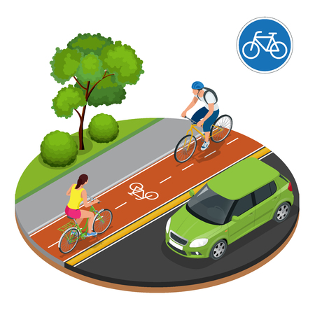 Bikers in city. Cycling on bike path. Bicycle road sign and bike riders. Flat 3d vector isometric illustration. People riding bikes. Bikers and bicycling. Sport and exercise Vettoriali