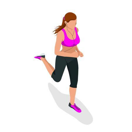 woman run: Woman running. Beautiful girl jogging. Woman run. How to run faster banner. Lets run. Run. Fitness elements. Vector flat design of fitness. Fitness woman. Fitness equipments. Running. Jogging Illustration