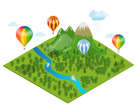 ballooning: Hot air balloon over the forest, over the  moutimes and clouds. Flat 3d vector isometric illustration hot air balloons