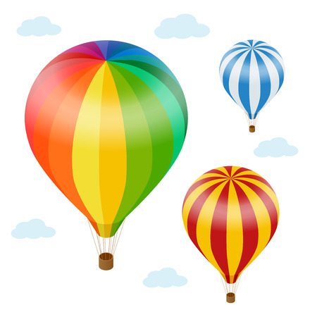 hot air: Hot air balloon in the sky with clouds. Flat 3d vector isometric illustration hot air balloons Illustration