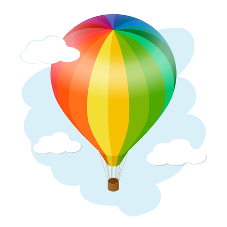 hot air: Hot air balloon icon. Flat 3d vector isometric illustration hot air balloon