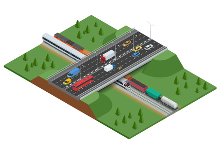 rush hour: Railroad and bridge with traffic. Transport car, urban and asphalt, traffic. Isometric 3d vector illustration for infographics