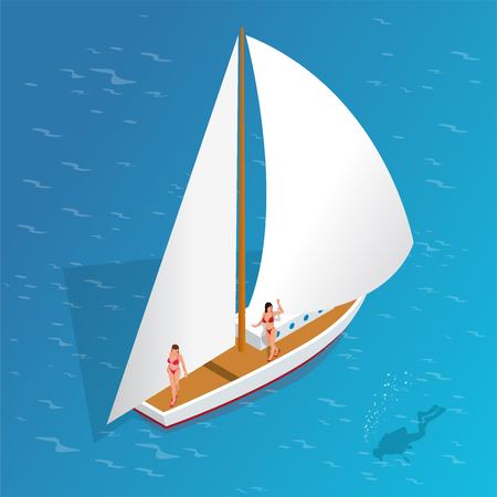 luxury travel: Luxury vacation on a yacht in the sea. Romantic vacation and luxury travel. Sailing the sea. Human scuba diver swimming under water. Flat 3d vector isometric illustration Illustration