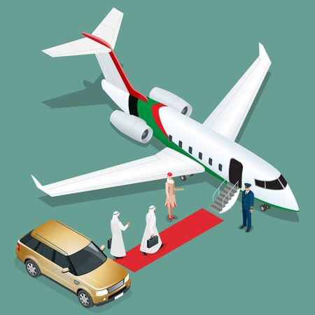 private jet: Private jet airplane. Two arab business mans walking towards private jet while pilot and stewardesses standing at airport terminal. Flat 3d vector isometric illustration